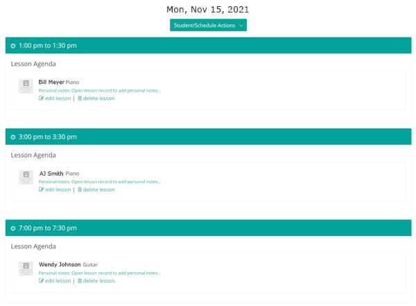 Music teacher calendar softwae daily lessons