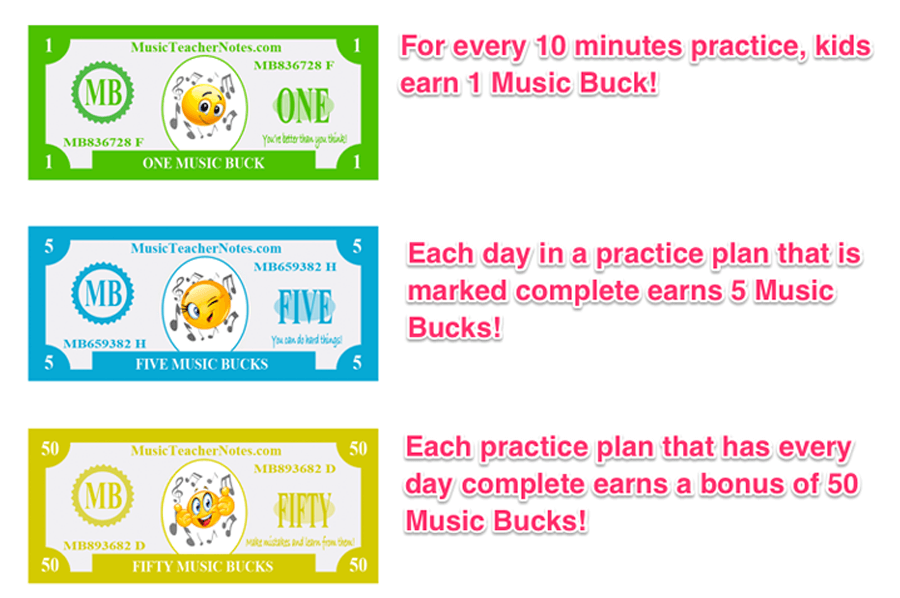 Music Bucks and Rewards for practicing music