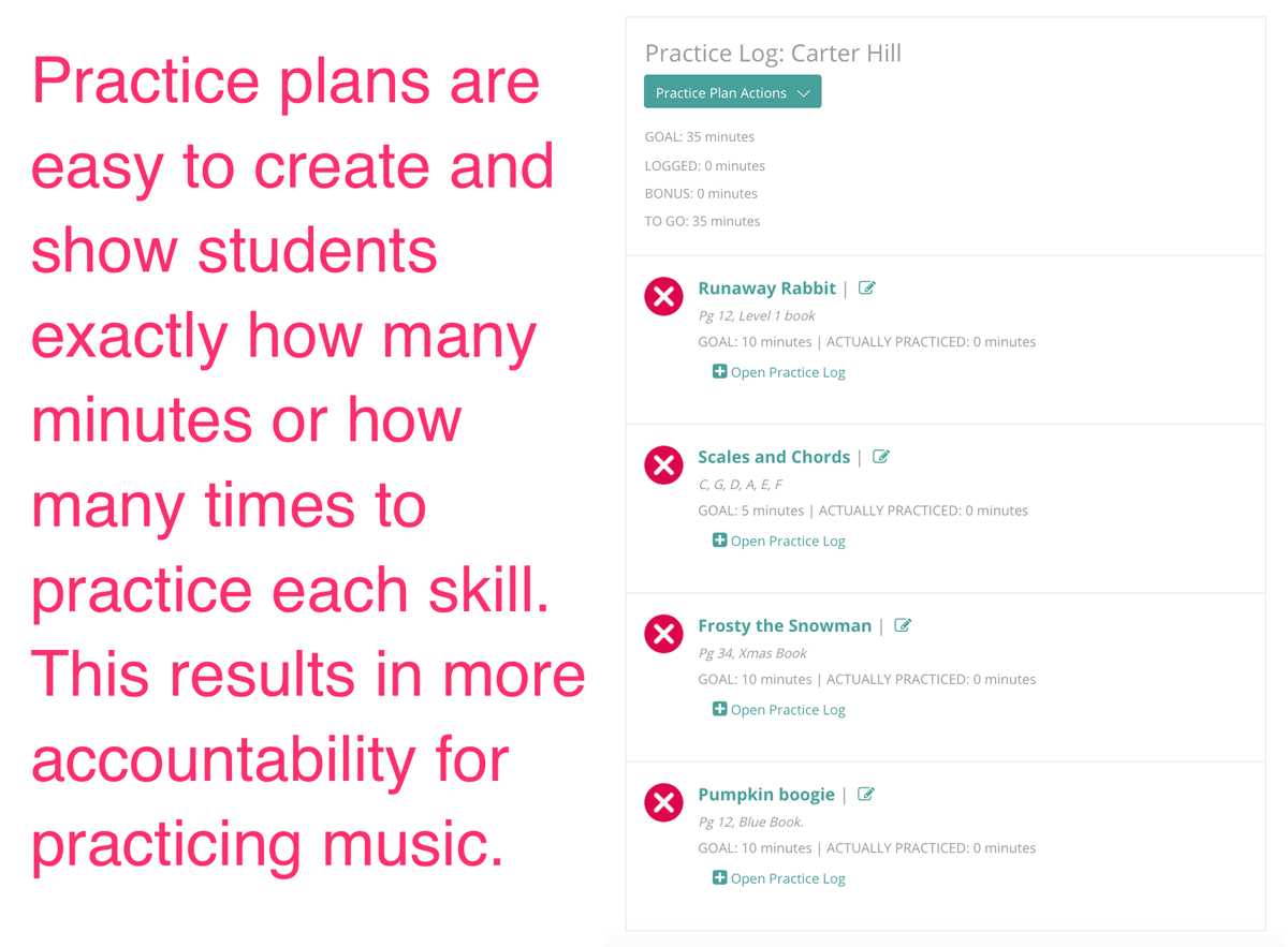 The Practice Plan Creator for music instruments